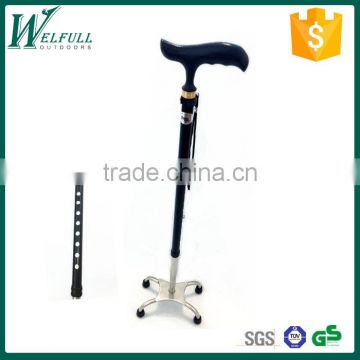 Crutch for old with wooden handle, 4 legs base, Telescopic cane
