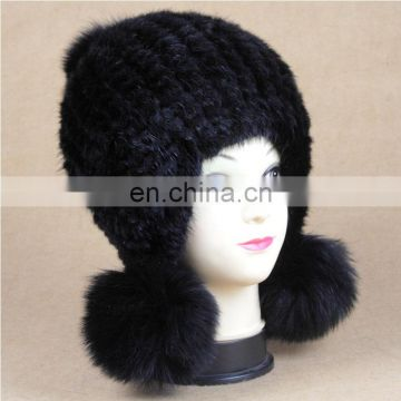 New pattern girl knitting earplap hat mink fur hat with fox fur pom pom