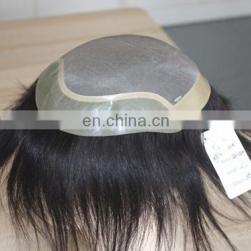Factory wholesale human hair toupee top quality men wig hair
