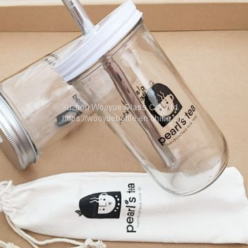Reusable boba tea glass cups with straw