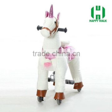 HI EN71 hot sale mechanical riding plush horse toy on wheels for kids