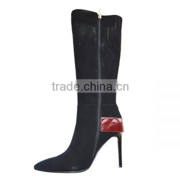 New model Italian style suede leather women knee boots Winter warmth high heel fashion knee boots