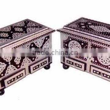 Brass inlay work wooden chest & treasure chest box