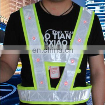 led light flashing running safety vest