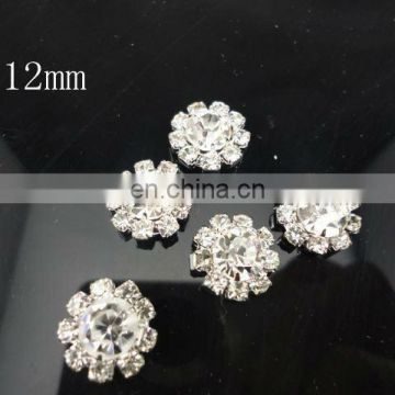 12mm Mini Clear Alloy Full Of Crystal Button Spark Rhinestone Buttons Decoration Accessory