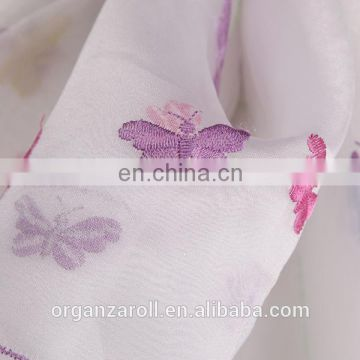 2015 new design lovely butterfly embroidery organza fabric
