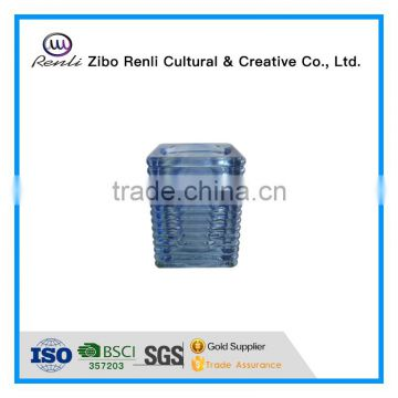 Blue Ribbed Square Cube Recycled Unique Glass Candle Jars