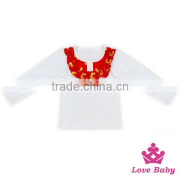 Latest Frock Designs Cotton Shirts With Arrow Ruffle Top Bib Baby Shirts Girls Tops Kids