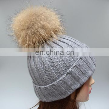 Adults style knitted ribbed pompon winter warm hats for girl women