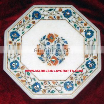 Octagonal White Marble Inlay Coffee Table Tops
