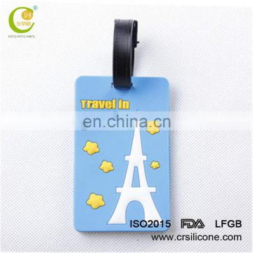 Custom made embossed silicone luggage tag/name baggage tag with brand logo