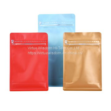 Plastic Laminated Mylar Foil  Eco Friendly Bags Flat Bottom Pouch With Zipper For Dried Food Packaging Bags