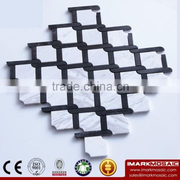 IMARK Water Jet Volakas Mixed China Haina Black Marble Stone Backsplash Tile Wall Decoration