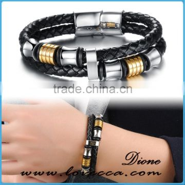 Stainless steel & leather mens bracelet , braided genuine leather bracelet men stainless steel