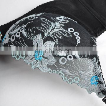 Push Up Classic Embroidery Flower Transparent Lace Ladies Sexy Fancy Bra And Panty Set New Design