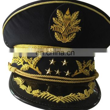 different rank of gold embroidery visor and cap band military officer peak cap
