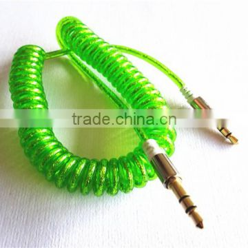 flexible dc3.5m to dc3.5m spiral metal transperant cable extend stereo audio aux cable