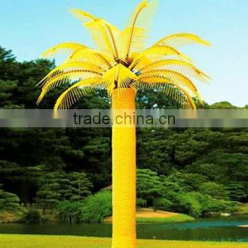 Home garden decorative 450cm Height outdoor artificial yellow flashing LED solar lighted up Moringaceae palm trees EDS06 1406