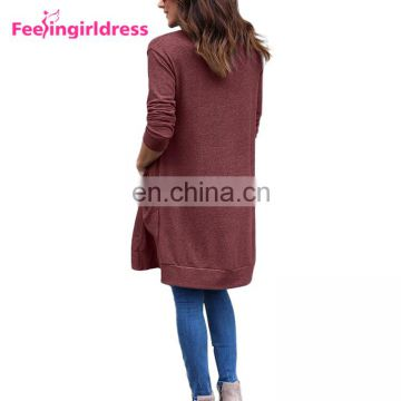New Design Autumn Fashion Knitting Patterns Sweater Coat Women Long Cardigan