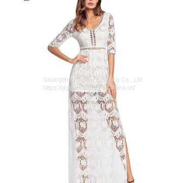 V-neck Lace Hook Hollowed Out Pure Color Long Dress