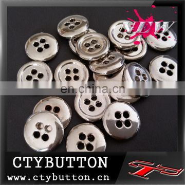 4 hole-high class silver plastic button