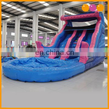 Cheap price outdoor water park pink water slide with pool