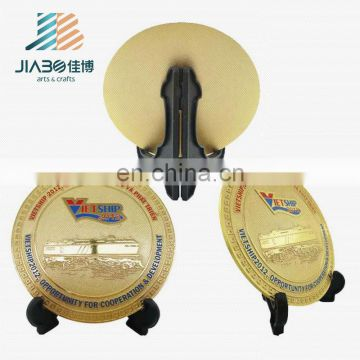 High quality zinc alloy custom design gold round metal plate