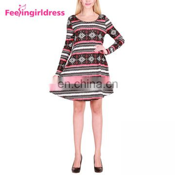 Wholesale Knee Length Snowflake Formal Long Sleeve Womens Christmas Dress