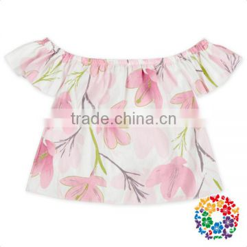 a06c86841d63 Pink Flowers Baby Girls Top Design Stylish Strapless Cotton Ruffle ...
