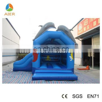 Lovely Dolphin inflatable bouncer castle,ocean theme blue castle,jumping house