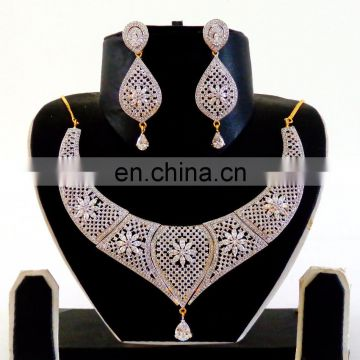Bollywood Fashion wear CZ Necklace set - American Diamond jewellery - Wholesale Cubic Zirconia Necklace set - 2016 AD Jewellery