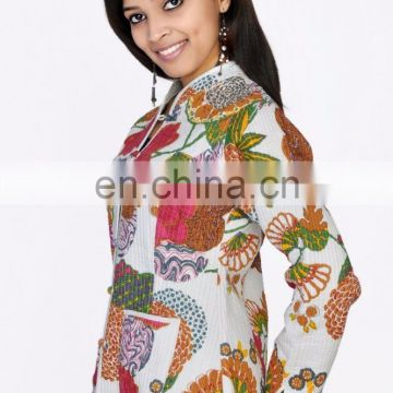 Indian Women Cotton Jacket Ethnic Kantha Printed Reversible Fashion Jaket Coats Kantha Jacket Sleeves ladies Reversible Ethnic