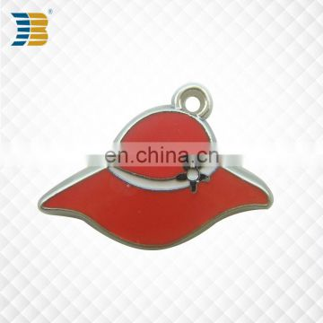 custom metal hat shape charm print with epoxy
