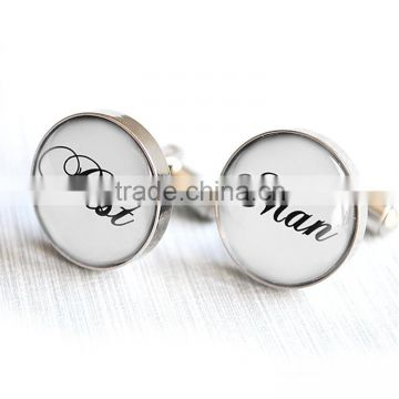 A Gift Personalized Monogrammed Silver Round Beaded Cufflinks Set of 5