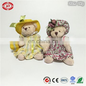 Floral dress cute fancy plush sitting teddy bear with bag