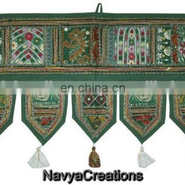 Indian Cotton Decorative Door Hanging Patchwork Window Valance Work Toran Window Valance Topper Toran door hanging wholesale art