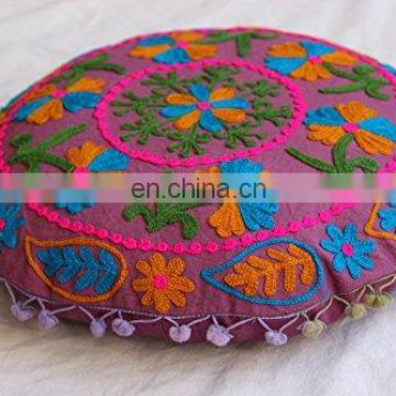 Embroidered Suzani Cushion Cover Cotton Ottoman Handmade Round Throw Pillow Case Indian Pouffe