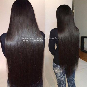 9A Brazilian Straight Human Virgin Hair Weave 4 Bundles With Lace Frontal