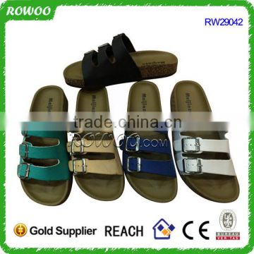 New style buckles design cork OEM women slippers