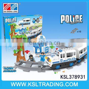 Hot sale bricks toys track electric police car with light and sound
