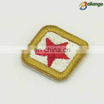 Small size square shape red star custom embroidery patches for fashion hat