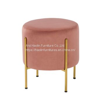 Golden Metal Legs, Ottoman Stools,Upholstered with Velvet