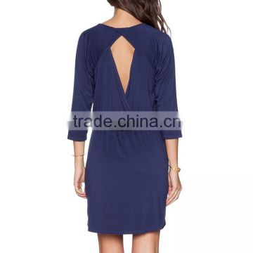 OEM Manufacturer Customized Simple Jersey V Neck Women New Cut Out Back Gaun Dress Designs