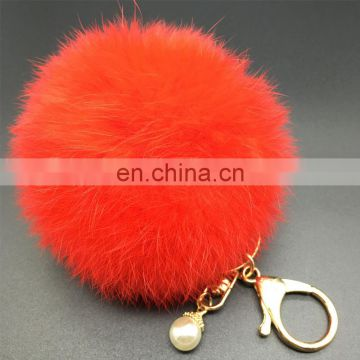 Top grade dyed color fur pom pom bag charm metal keychain fur puff ball