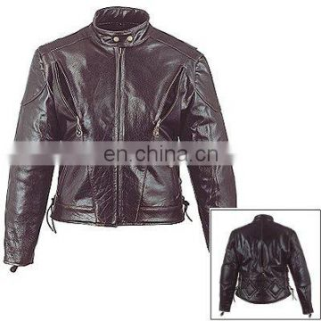 HMB-0332C WOMEN LEATHER JACKETS BIKER FASHION MOTORCYCLE COATS
