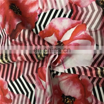 Factory Direct Sales Garment Digital Printed 100%Silk Crepe Satin Fabric