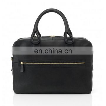 Black messenger bag with handle and front pocket