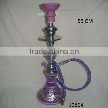 purple Coloured Glass and metal Hookah with metal and ceramic parts