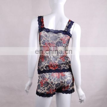 2015 Flower Printed Sleeveless Ladies Bra and Panty Sets Camisole