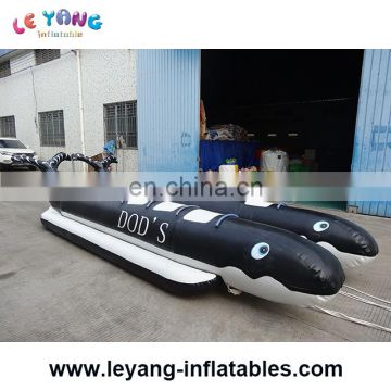 Popular giant black shark inflatable water toys banana boat for sale